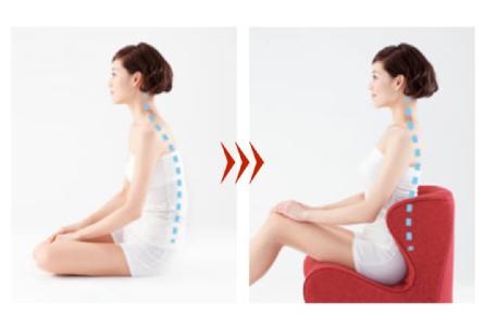 座るだけで「正しい姿勢」をサポート。